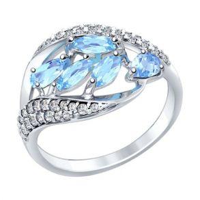 Кольцо из серебра с голубыми топазами и фианитами 92011363 SOKOLOV