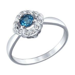 Кольцо из серебра с синим топазом и фианитами 92011387 SOKOLOV
