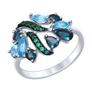 Кольцо из серебра с голубыми и синими топазами и зелеными фианитами 92011396 SOKOLOV