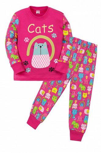 """Пижама детская """"CAT""""  (2-5 лет) СМ407 малиновый"""