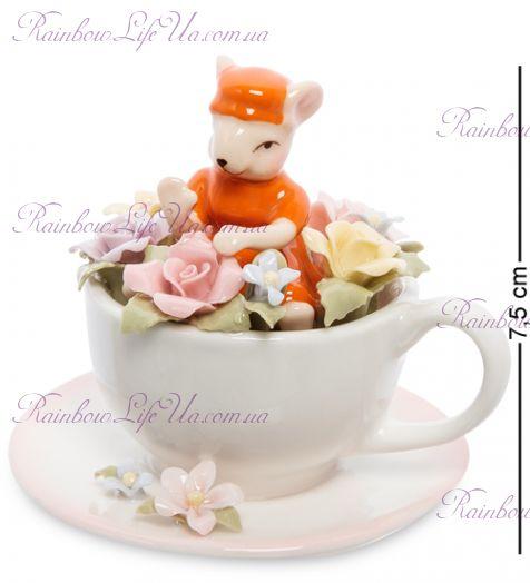 """Статуэтка мышка в цветочной чашке """"Pavone"""""""