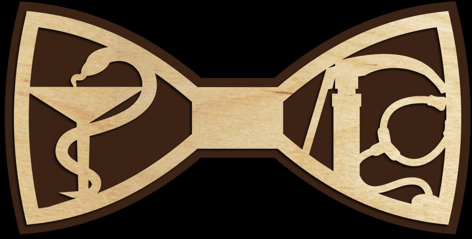 Деревянный галстук-бабочка для доктора