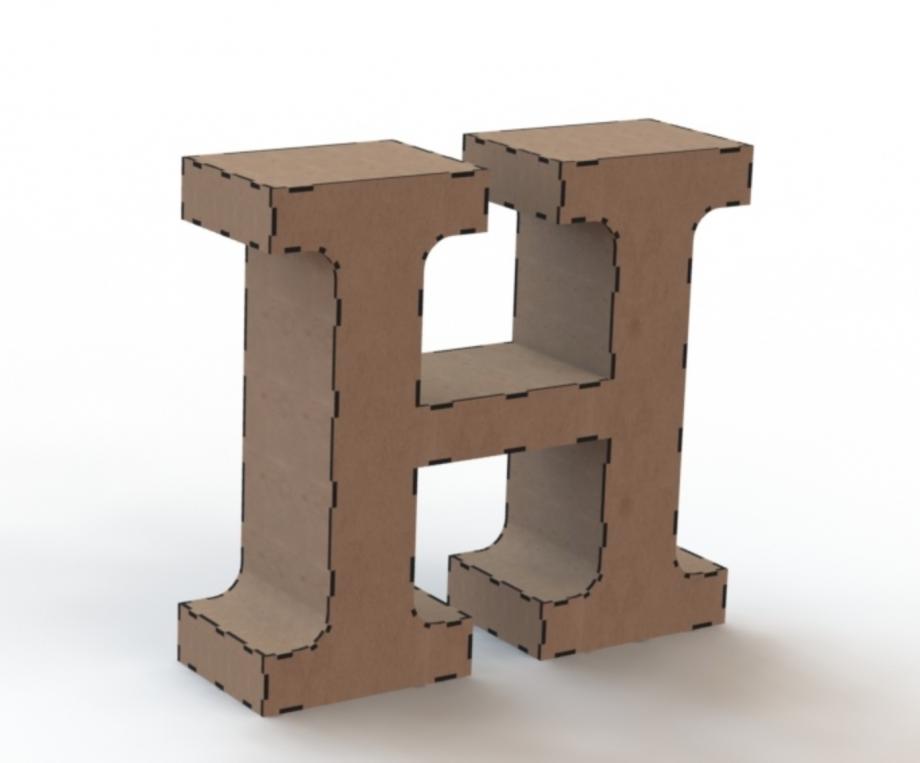 Объемная буква H