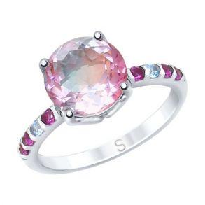 Кольцо из серебра с ситаллом и фианитами 92011717 SOKOLOV
