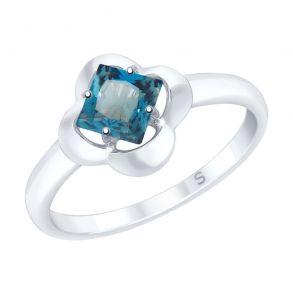 Кольцо из серебра с синим топазом 92011726 SOKOLOV