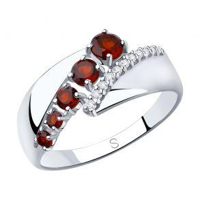 Кольцо из серебра с гранатами и фианитами 92011815 SOKOLOV
