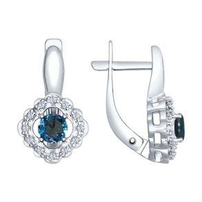 Серьги из серебра с синими топазами и фианитами 92021543 SOKOLOV