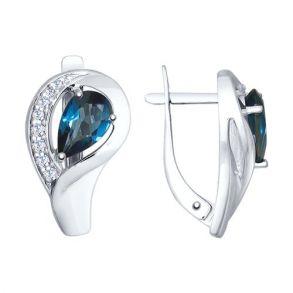 Серьги из серебра с синими топазами и фианитами 92021598 SOKOLOV