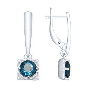 Серьги из серебра с синими топазами и фианитами 92021867 SOKOLOV