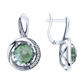 Серьги из серебра с кварцем и фианитами 92022057 SOKOLOV