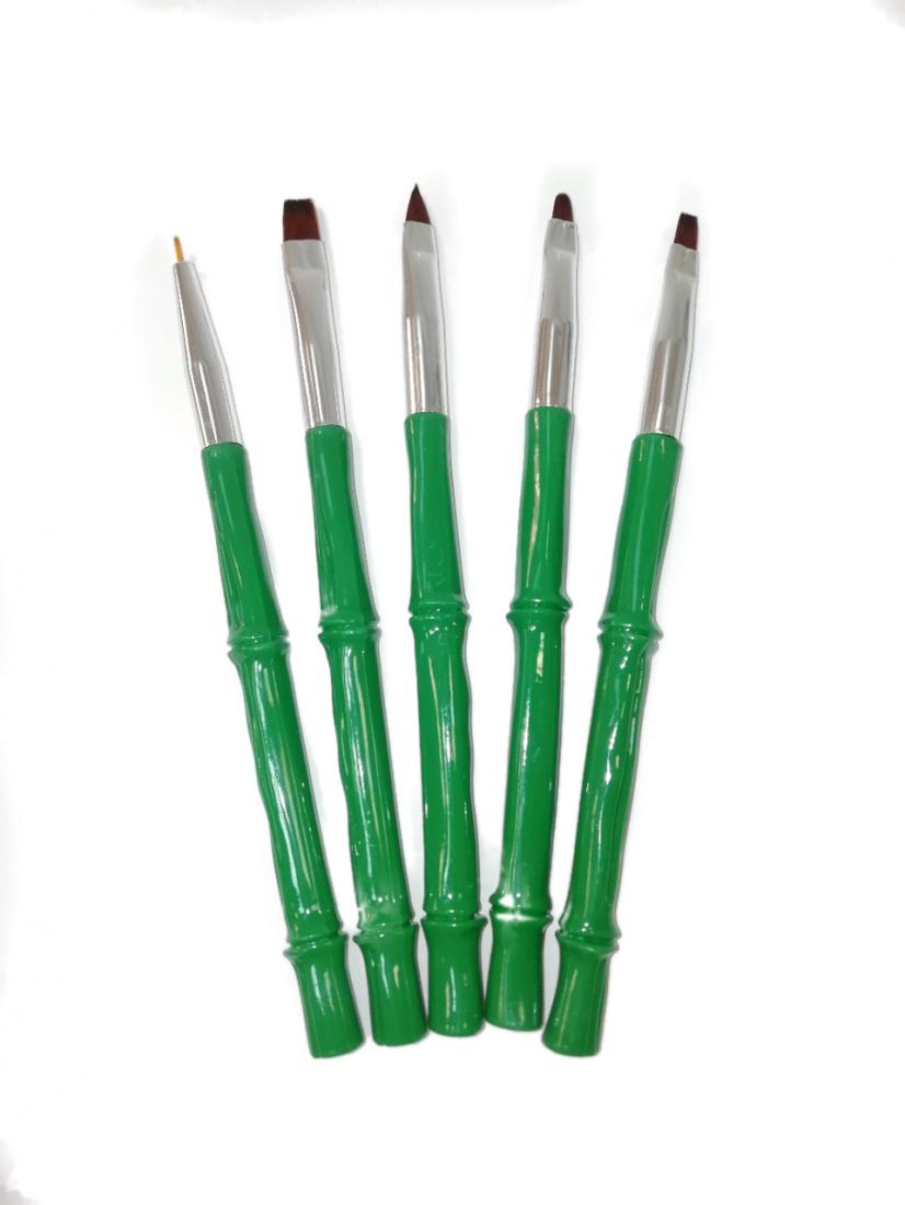 Набор кистей для геля (5шт) зеленая ручка