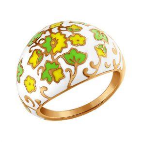 Позолоченное кольцо декорированное эмалью 93010314 SOKOLOV