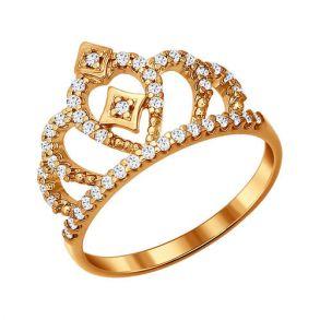 Позолоченное кольцо корона 93010366 SOKOLOV