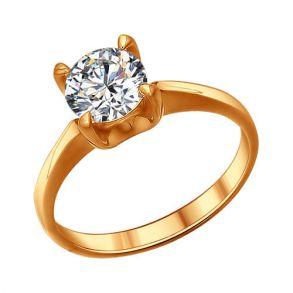 Помолвочное кольцо из золочёного серебра с фианитом 93010417 SOKOLOV