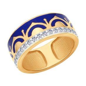 Кольцо из золочёного серебра с эмалью с фианитами 93010555 SOKOLOV