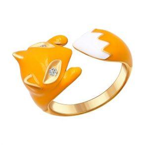 Позолоченное кольцо в виде лисы 93010511 SOKOLOV