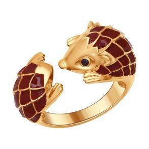 Позолоченное кольцо «Ёжик» 93010556 SOKOLOV