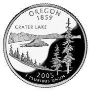 25 центов США 2005г - Орегон, UNC - Серия Штаты и территории D