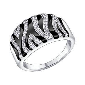 Кольцо из серебра с эмалью с фианитами 94010299 SOKOLOV