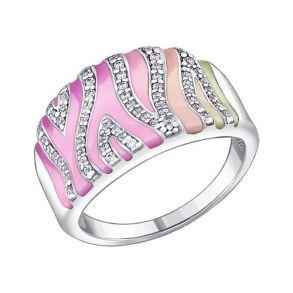Кольцо из серебра с эмалью с фианитами 94010301 SOKOLOV