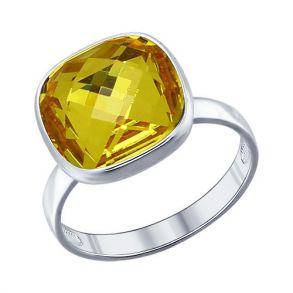 Кольцо из серебра с жёлтым кристаллом swarovski 94011364 SOKOLOV