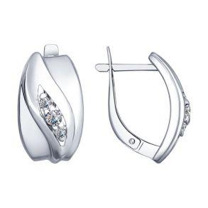 Серьги из серебра с фианитами 94022518 SOKOLOV