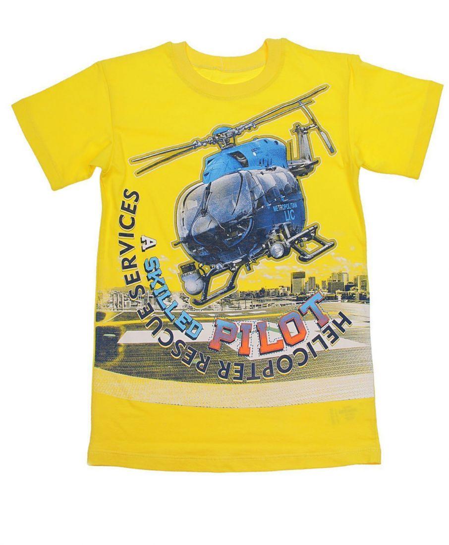 Футболка Вертолет для мальчика желтого цвета