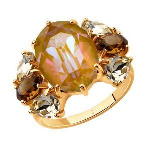 Кольцо из золочёного серебра с жёлтыми и коричневыми кристаллами Swarovski 93010826 SOKOLOV