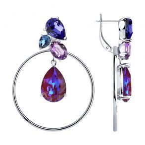 Серьги из серебра с голубыми кристаллами Swarovski 94023763 SOKOLOV