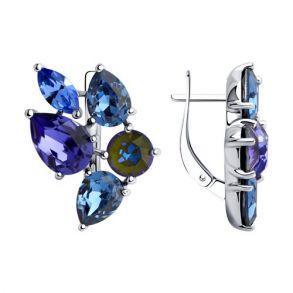 Серьги из серебра с голубыми и синими кристаллами Swarovski 94023709 SOKOLOV