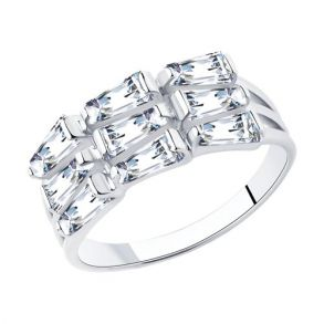 Кольцо из серебра с фианитами 94013071 SOKOLOV