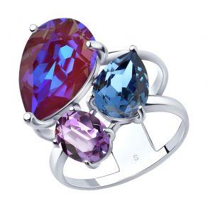 Кольцо из серебра с голубым кристаллами Swarovski 94013072 SOKOLOV