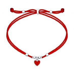 Браслет с серебряной подвеской-сердечком 94050423 SOKOLOV