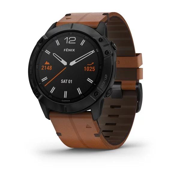 Часы Garmin Fenix 6X Sapphire черный DLC с каштановым кожаным ремешком