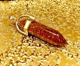 Маятник натур камень Коричневый Авантюрин в металле 3 см