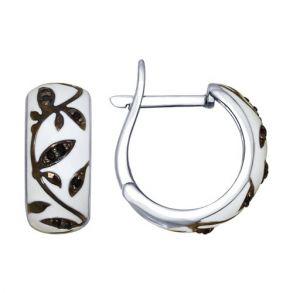 Серьги из серебра с эмалью с чёрными фианитами 94022468 SOKOLOV