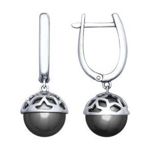 Серьги из серебра с жемчугом Swarovski 94022670 SOKOLOV