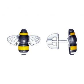 Серьги из серебра с эмалью «Пчёлка» 94022839 SOKOLOV
