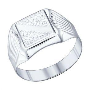 Печатка из серебра с гравировкой 94011505 SOKOLOV