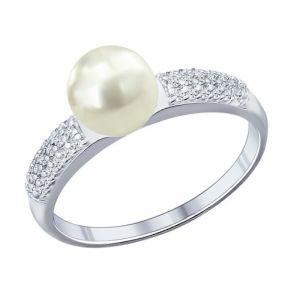 Кольцо из серебра с жемчугом и фианитами 94011764 SOKOLOV