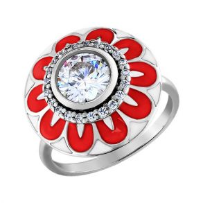 Кольцо из серебра с эмалью с фианитами 94010984 SOKOLOV