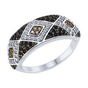 Кольцо из серебра с бесцветными, коричневыми и чёрными фианитами 94012573 SOKOLOV