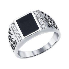 Печатка из серебра с эмалью с фианитами 94010713 SOKOLOV