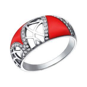 Кольцо из серебра с эмалью с фианитами 94011037 SOKOLOV