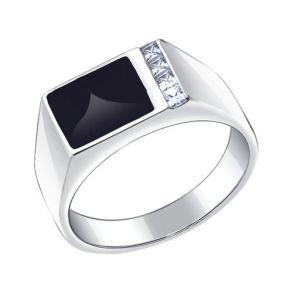 Печатка из серебра с эмалью с фианитами 94010434 SOKOLOV