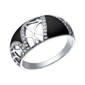 Кольцо из серебра с эмалью с фианитами 94011031 SOKOLOV