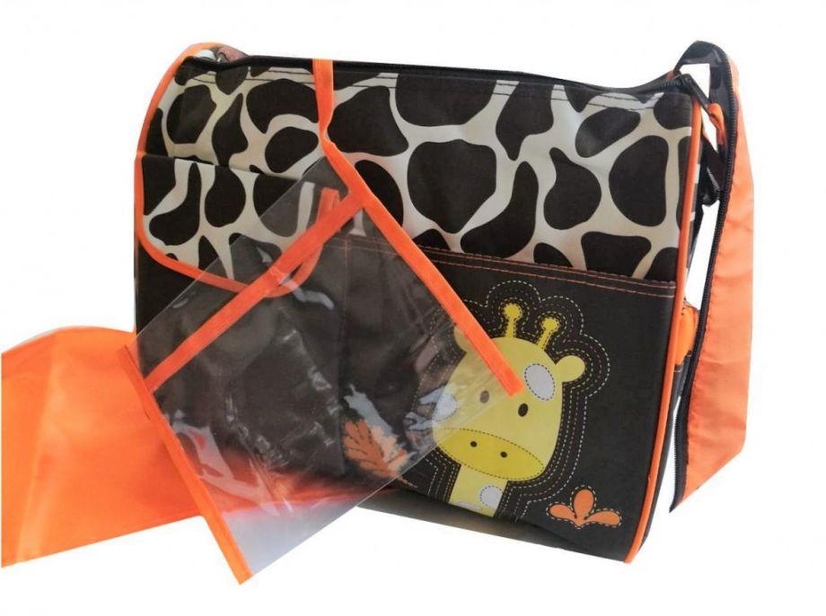 Многофункциональная сумка для мам с пеленкой Зверята, 39х15х32 см, оранжевый