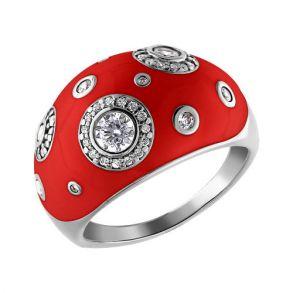 Кольцо с красной эмалью и фианитами 94010884 SOKOLOV