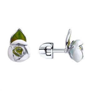 Серьги из серебра с эмалью 94023339 SOKOLOV