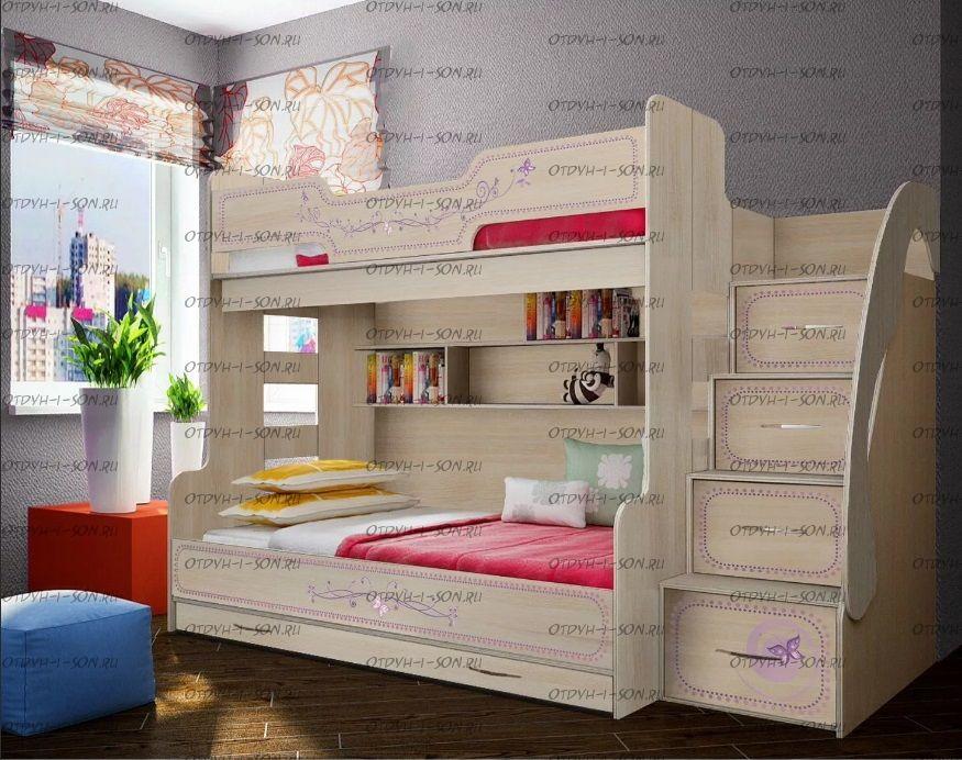 Кровать двухъярусная Лилак ФЛ-21, трехместная